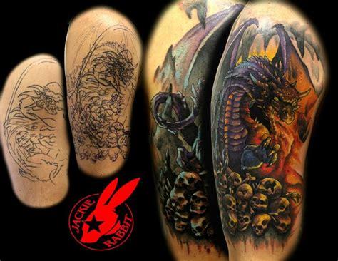 tattoo dragon cover up dragon cover up tattoo by jackie rabbit by jackierabbit12
