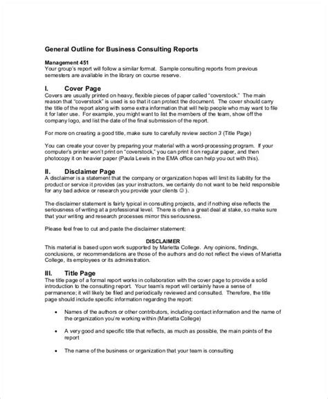 How To Write Consultancy Report by 9 Consulting Report Exles Pdf