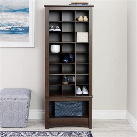 Entryway Cabinet Tower Prepac 24 Shoe Capacity Cubbie Cabinet Tower In