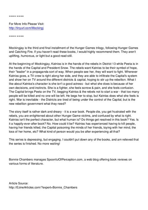 ️ Synopsis of hunger games mockingjay. Mockingjay Chapter