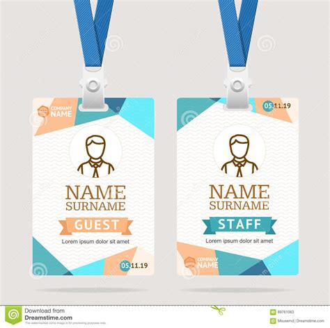 id card design eps id card template plastic badge vector stock vector