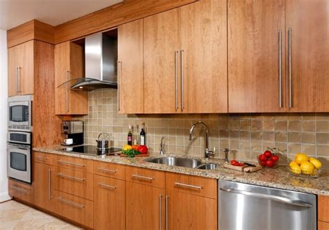contemporary cherry flat panel kitchen