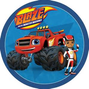 blaze amp the monster machines round edible icing cake image