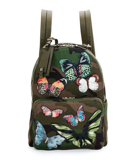 Camo Print Backpack valentino garavani camo print butterfly backpack