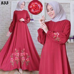 Dress Umbrella Motif Bunga Maxi Dress Muslim Gisela Quality gamis maxi katun silky bordir c833 baju muslim modern
