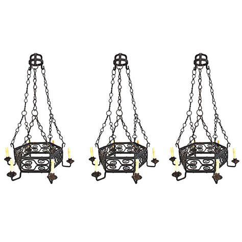 Handmade Wrought Iron Chandeliers - set of three handmade wrought iron chandelier