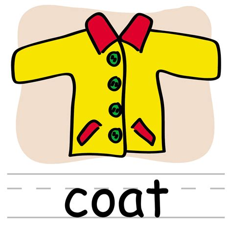 clipart words clip basic words coat color labeled abcteach