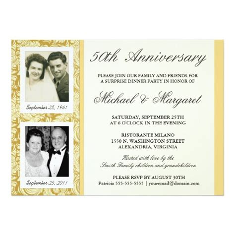 50th anniversary invitations templates 50th anniversary invitations then now photos zazzle