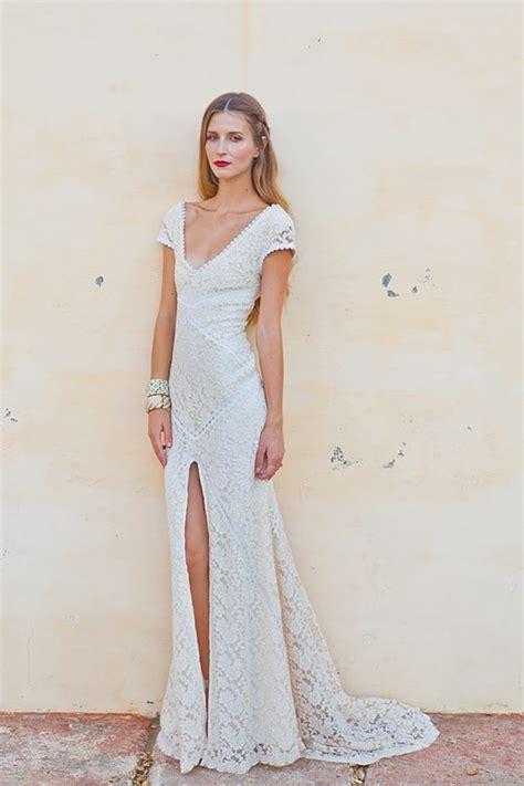 alexandra lace bohemian wedding dress dreamers and