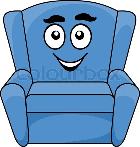 cartoon armchair comfortable upholstered blue armchair with a happy smiling