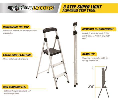 Gorilla 2 Step Aluminum Step Stool by Gorilla Ladders 3 Step Aluminum Step Stool Ladder 225 Lb