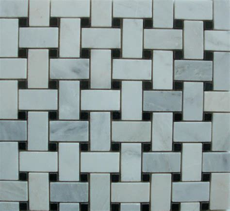 basketweave marble mosaic white carrara with black dot