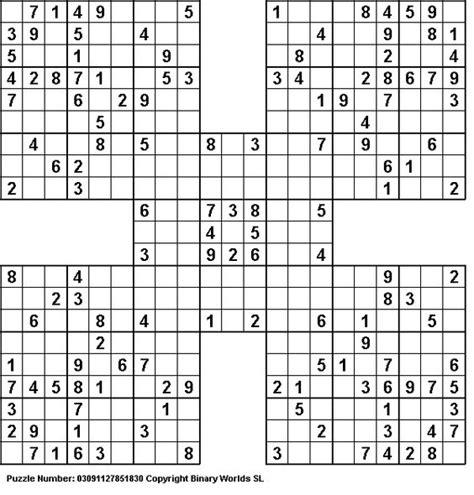 printable sudoku challenge finish a samurai sudoku puzzle sudoku en andere puzzels