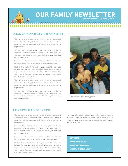 family newsletter template newsletter templates ms