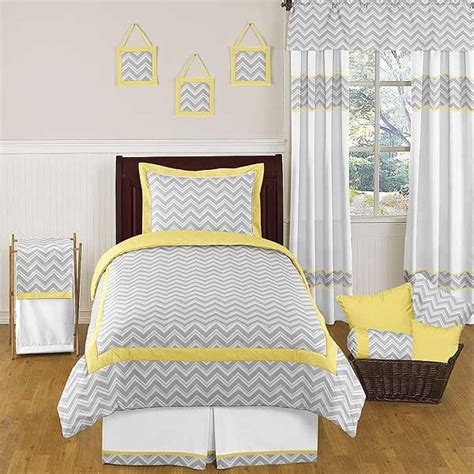 gray and yellow bedding zig zag yellow gray chevron print bedding set 3 piece