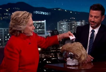 hillary clinton tries to read trump quotes with a straight
