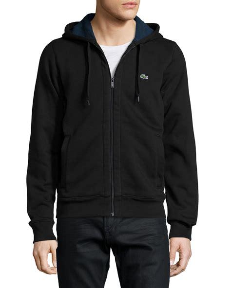 Hoodie Zipper Sweater Lacoste 1 lacoste zip fleece hoodie in black for lyst