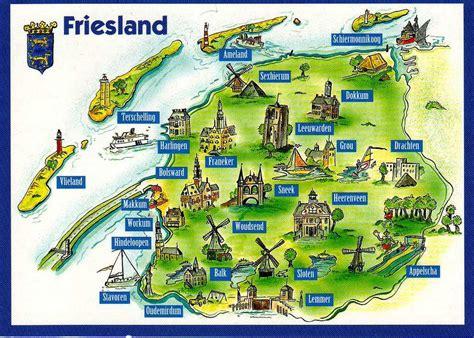 netherlands friesland map maps 10 postcard map from the netherlands
