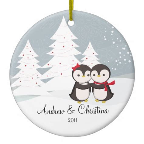 penguin couple love cute christmas ornament zazzle