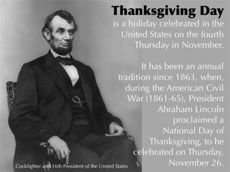 abraham lincoln on thanksgiving thanksgiving day was started by a cockfighter gameness