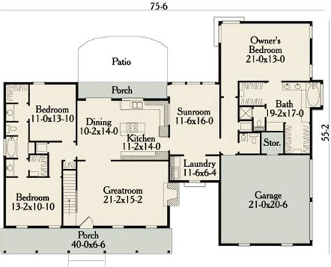 floor plans designer garrison 3458 3 bedrooms and 2 baths the house designers