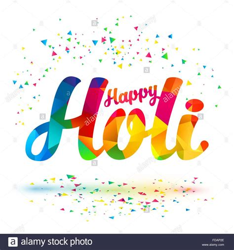 happy holi vector sign  colorful triangles pattern