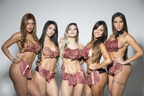 teen meat curtains miss bumbum brazil contestants wear beef kinis to