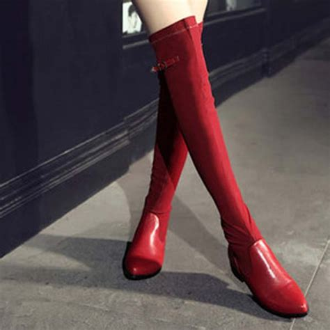 combat boots stretch slim leather thigh high boots