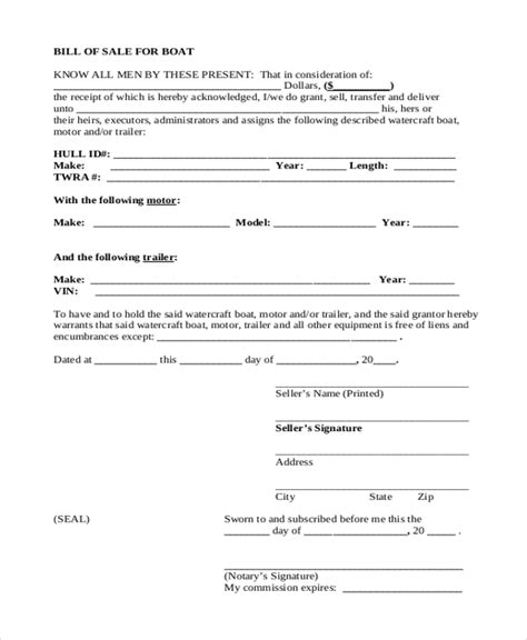 simple bill of sale form sle 9 free documents in pdf - Boat Bill Of Sale Simple