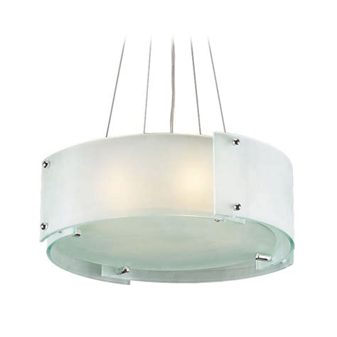 White Pendant Drum Light Modern Drum Pendant Light With White Glass In Polished Chrome Finish 7284 Pc Destination