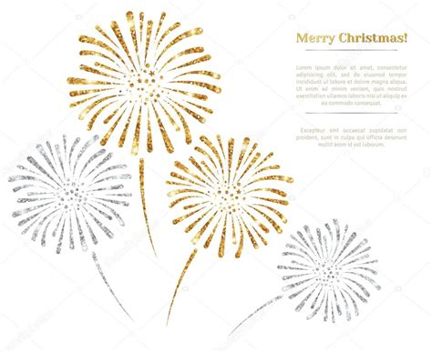 Vector Silver White vector gold and silver fireworks on white background