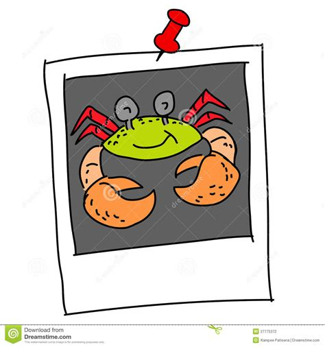 clipart foto crab in polaroid stock illustration image of