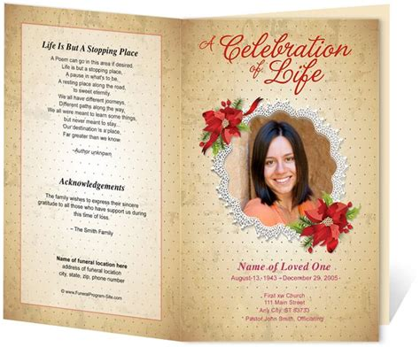 sle memorial service program template floral theme carol preprinted title letter single fold