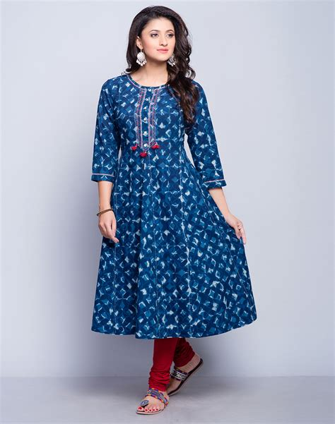 Buy Fabindia Indigo Cotton Cambric Anarkali Dabu Printed Long Kurta online   Fabindia.com