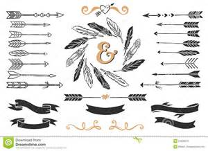 hand drawn vintage arrows feathers and ribbons with
