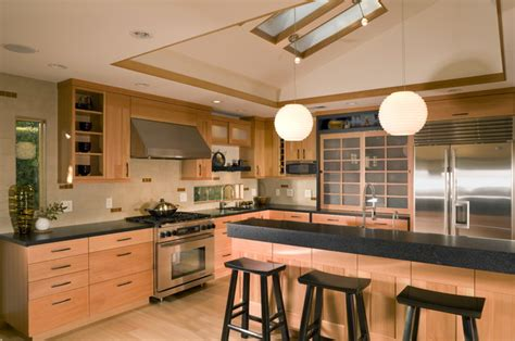 japanese style kitchen with skylights asian kitchen