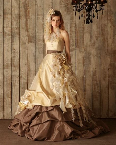 Brown Bridal by Chocolate Brown And Yellow Gold Wedding Dress Available