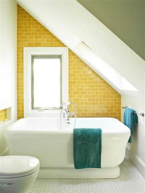 small attic bathroom ideas adorable small attic bathroom with yellow subway tile for the walls plus white tub awesome attic