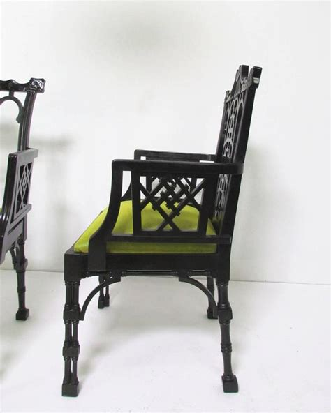 pair of lacquered chinese chippendale chairs at 1stdibs pair of chinese chippendale carved fretwork armchairs for