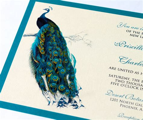 Peacock Wedding Invitations by Priscilla Peacock Wedding Invitation Sle Ivory Ecru