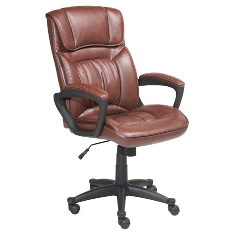 Brown Desk Chair by Serta Puresoft Faux Leather Executive Office Chair