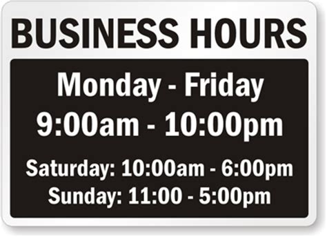 Business Hours Signs Business Hours Template