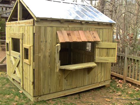 Playhouse Windows And Doors Ideas with Outdoor Wood Playhouse