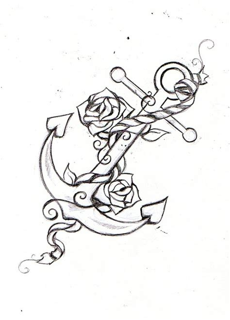 anchor with roses tattoo anchor rope sketch tattoos