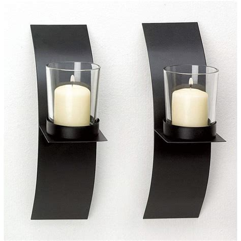 Candle Holder Wall Sconces Modern Candle Holder Wall Sconce Plaque Set Of Two Iron Holders W Glass Cups Ebay