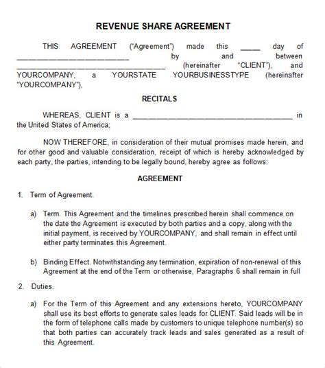 profit sharing agreement 7 free pdf doc download