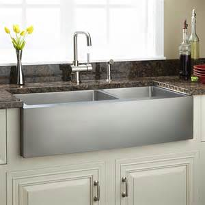 stainless farmhouse kitchen sinks 42 quot optimum 60 40 offset bowl stainless steel