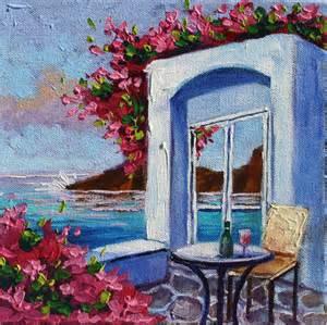 Relaxing Painting Videos Original Oil Painting Relaxing In Greece Santorini Flowers