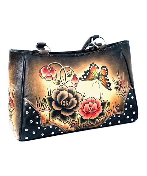 purse tattoo design painted design butterfly and flower studded
