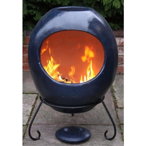 Glazed Chiminea Buy Gardeco Ellipse Large Mexican Clay Chiminea Blue